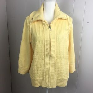 Yellow Christopher Band zip up sweater.